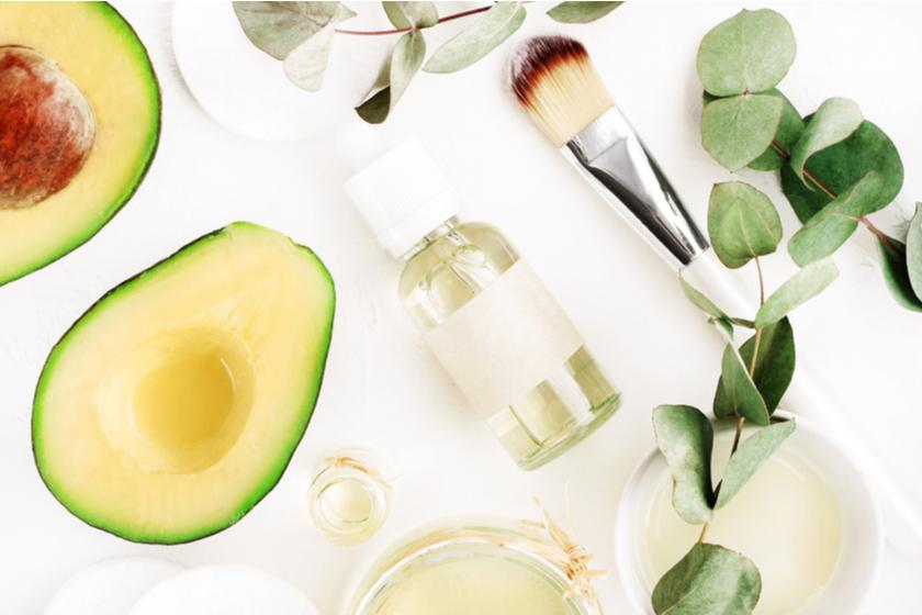 Perfume, avocados, and leaves